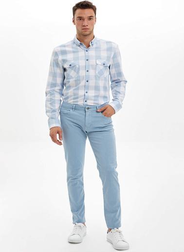 DeFacto Kareli Uzun Kollu Slim Fit Gömlek Mavi